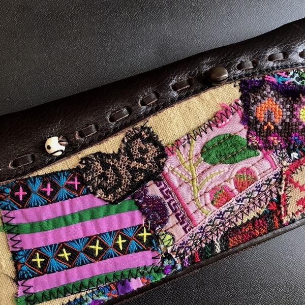 長財布/モン族古布と本革のハンドメイド財布/エスニックファッション
