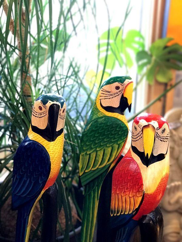 インコ木彫り/南国リゾートインテリア