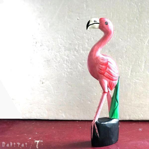 木彫りフラミンゴ/ピンクフラミンゴ