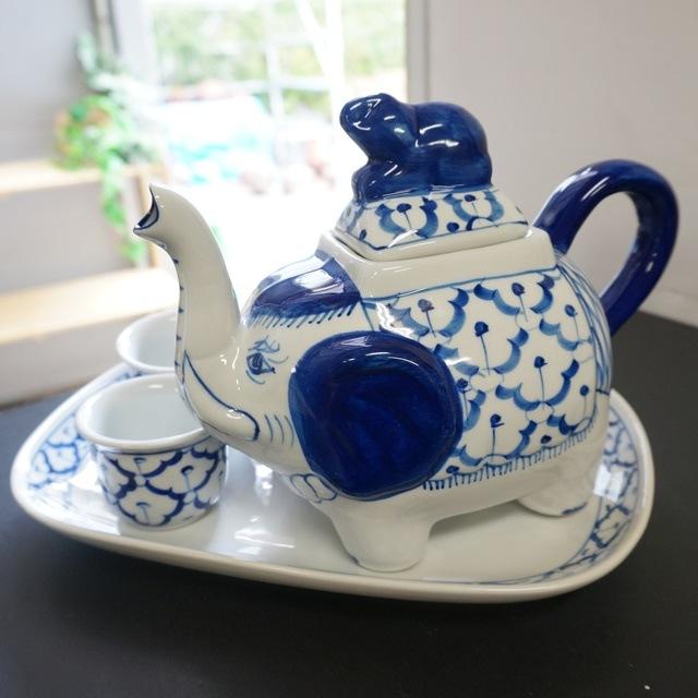 ブルー&ホワイト/ポット・湯呑・皿6点セット