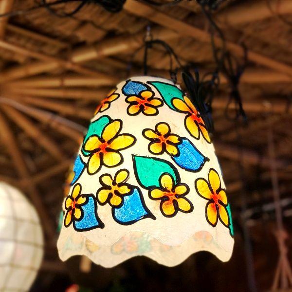 ステンドグラス風ランプ/ペンダントライト/プルメリア