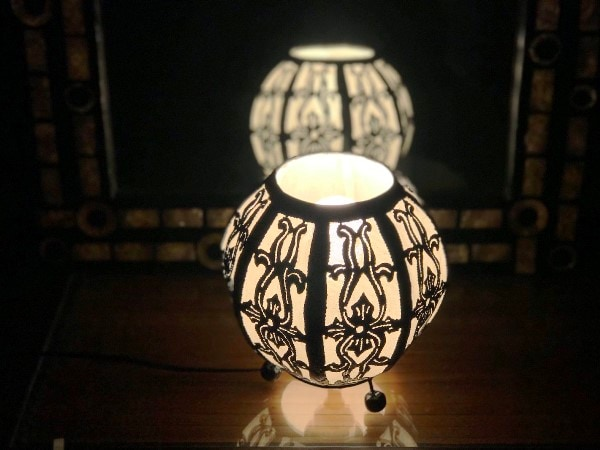 アイアン透かしスタンドライト/アイアンカットワークランプ/アイアン切り絵ランプ