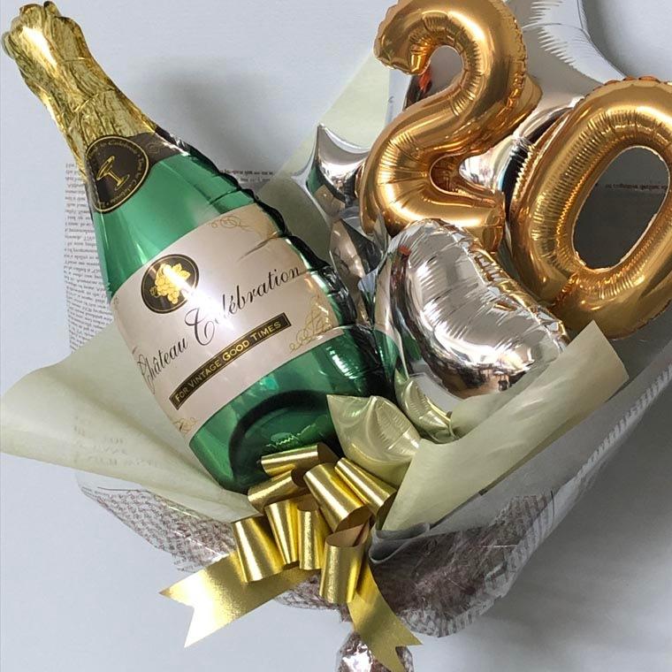 成人式用バルーン花束 グリーンシャンパン20 拡大2
