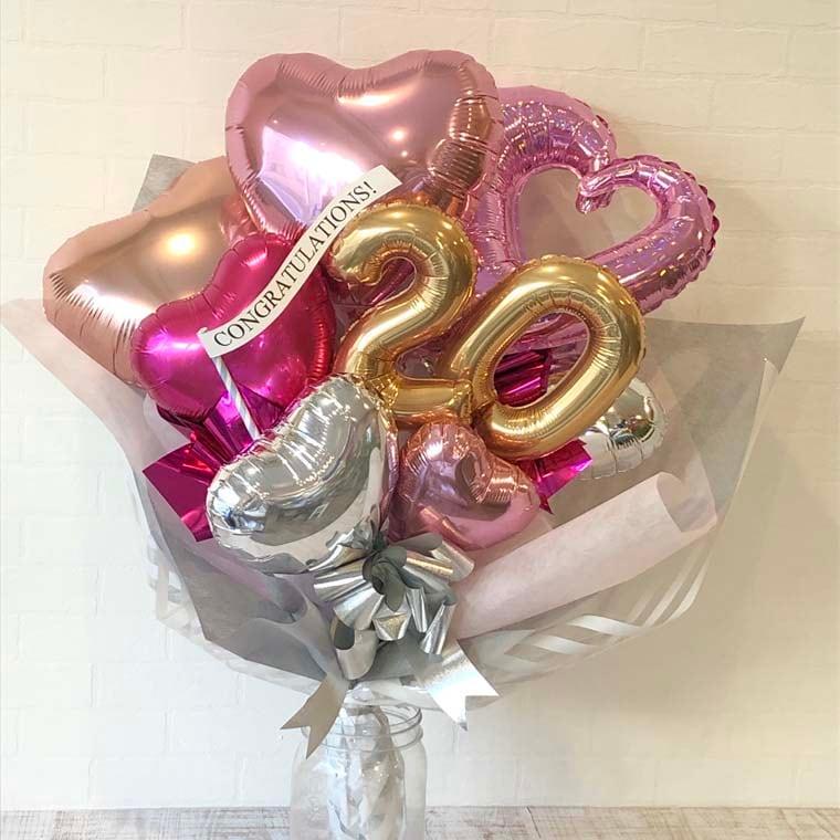 成人式バルーン花束 ピンク