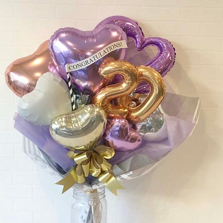 成人式バルーンブーケ 紫パープル