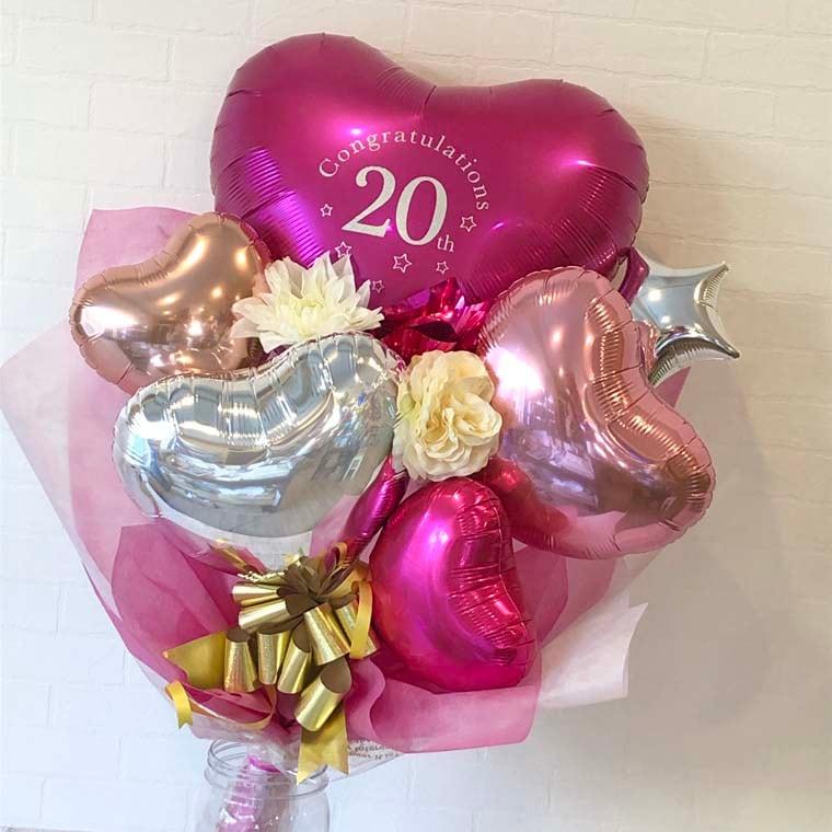 成人式用花束バルーン カラーが選べるアイブレックス20 マゼンタ