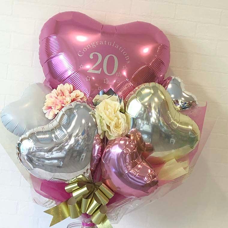 成人式用花束バルーン カラーが選べるアイブレックス20 ピンク