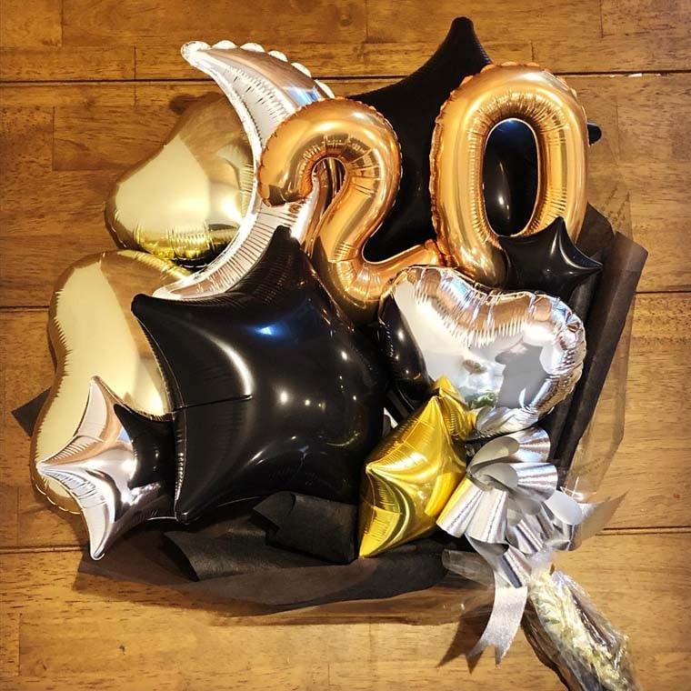 成人式用バルーン花束 カラーが選べるムーンスター20 ブラック