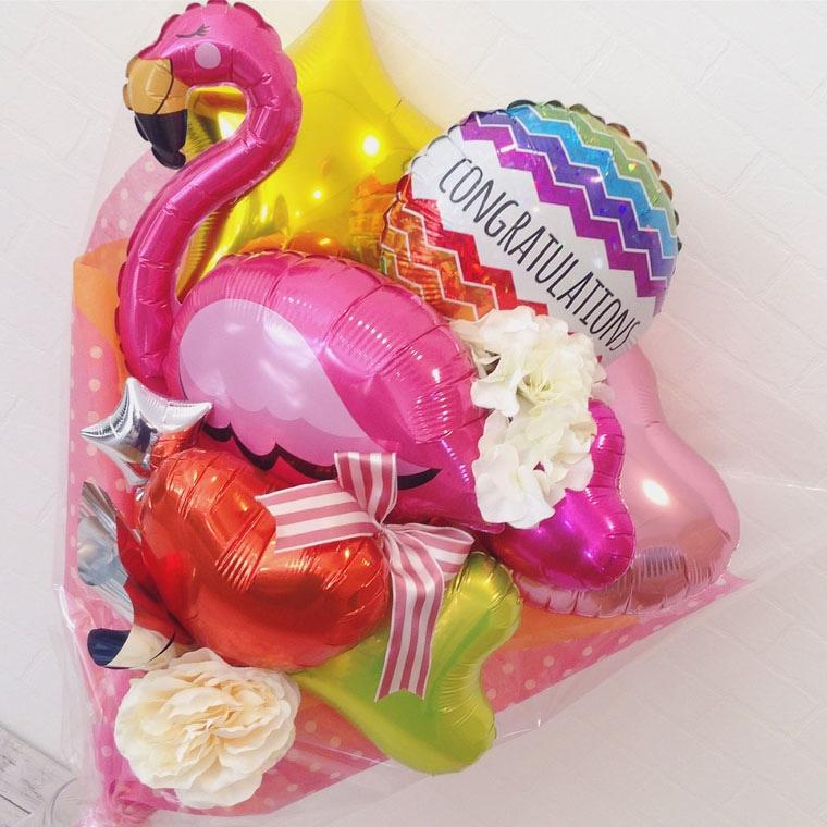 バルーン花束 フラミンゴトロピカル