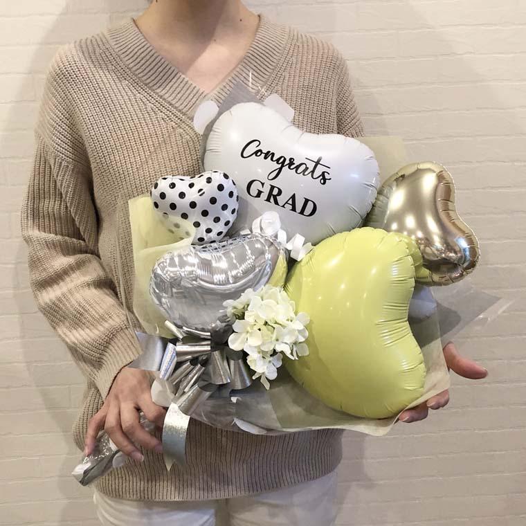 卒業祝いバルーン花束 ドットハートイエローの大きさ