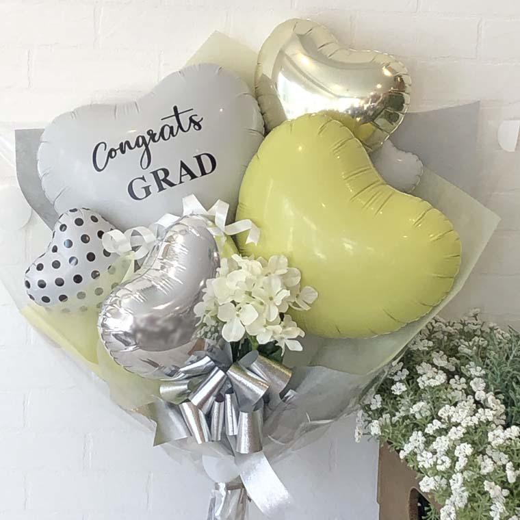 卒業祝い おしゃれなバルーンブーケ ドットイエロ
