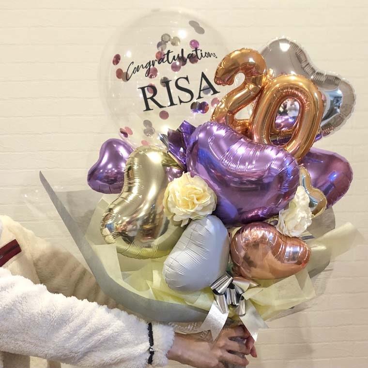 成人式用バルーンブーケ オシャレなバルーン花束 大きさ