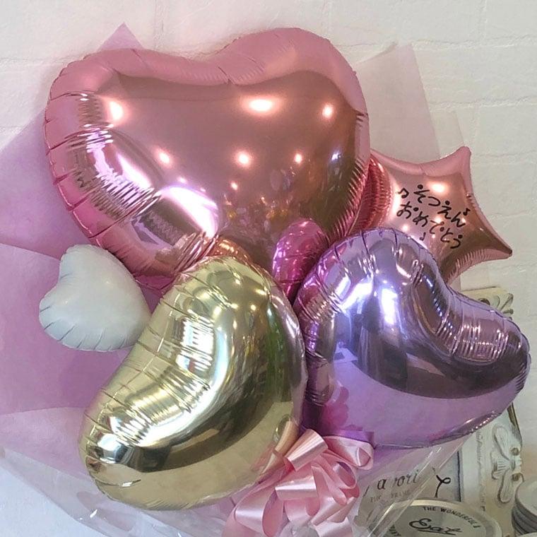可愛い☆ 卒園用花束型バルーンギフト ピンク色で女の子へのお祝いプレゼントにピッタリな花束型バルーンギフト 拡大1