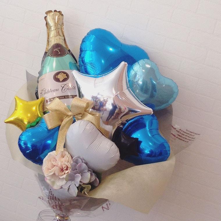 花束型バルーンギフト シャンパンブルー