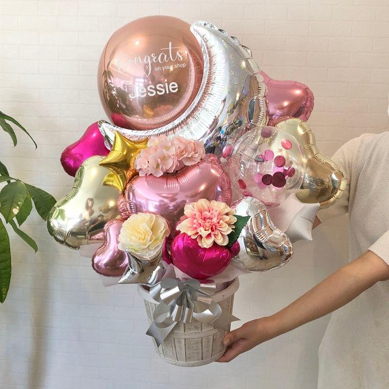 誕生日プレゼント・結婚祝い・開店祝い・周年祝いなどに☆ 星やお月様のバルーンで大人可愛い置き型バルーンギフト サイズ
