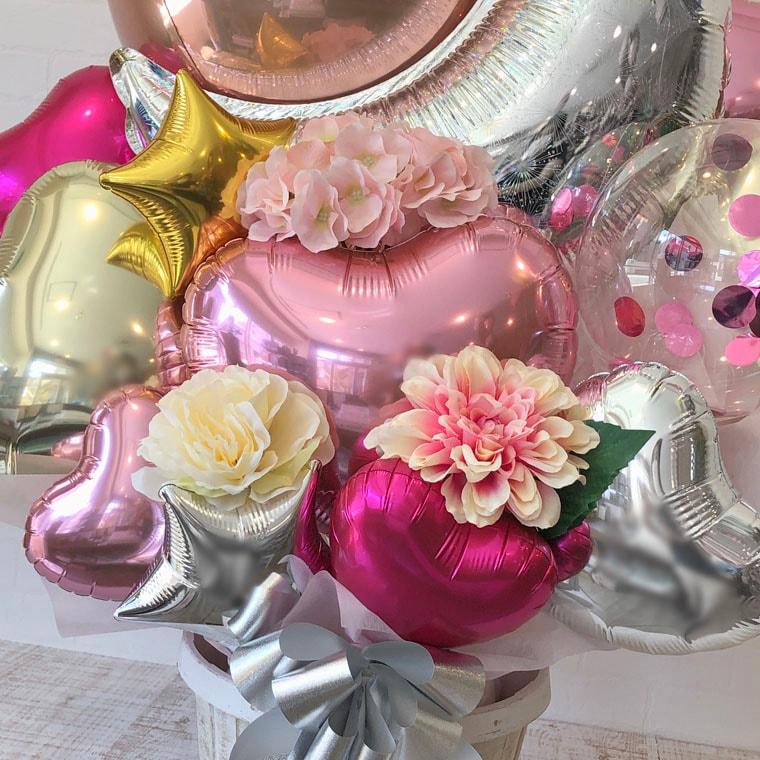 誕生日プレゼント・結婚祝い・開店祝い・周年祝いなどに☆ 星やお月様のバルーンで大人可愛い置き型バルーンギフト 拡大4