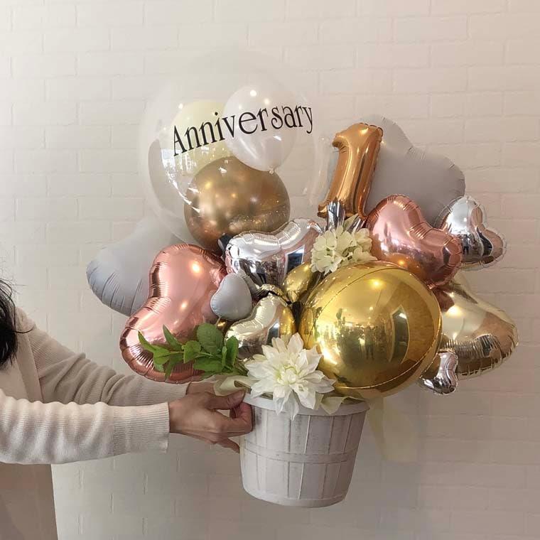 お好きな数字・メッセージが入れられる☆ 開店・周年・お誕生日の贈り物にも! Anniversaryゴールド サイズ