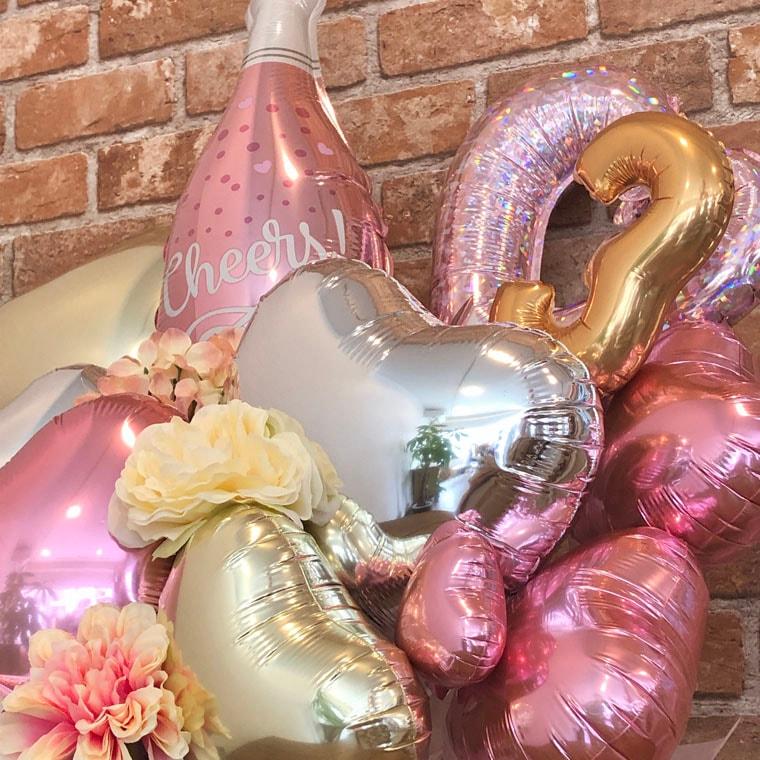 開店や周年のお祝いにぴったり☆ ピンクのシャンパンバルーン 拡大2