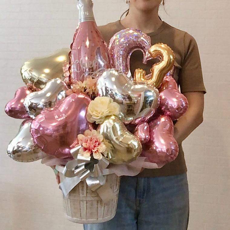 開店や周年のお祝いにぴったり☆ ピンクのシャンパンバルーン サイズ