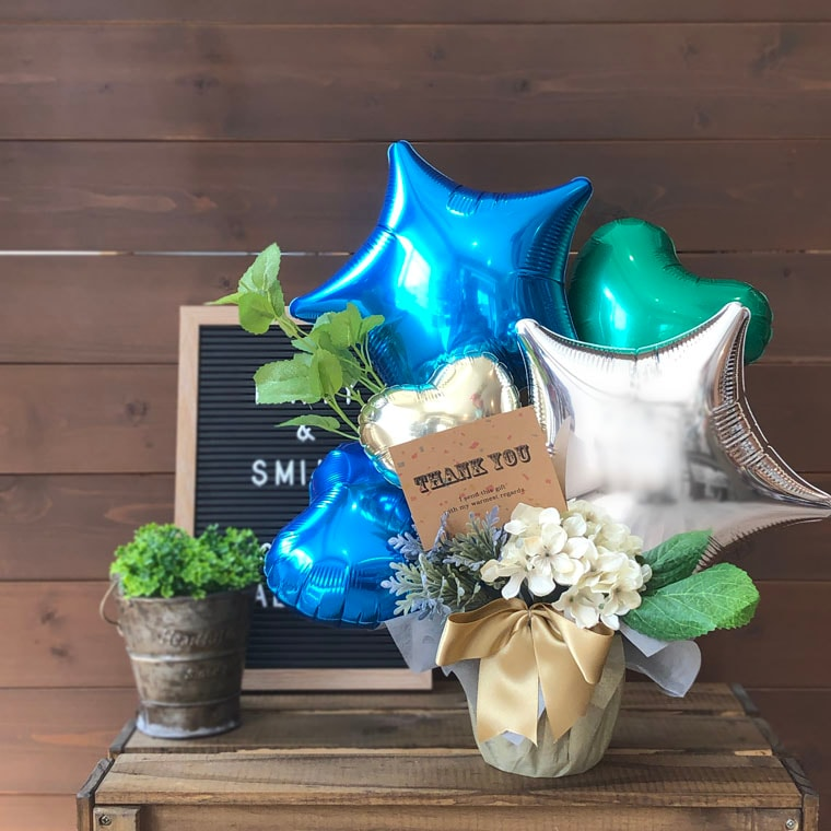 開店祝い・周年・置き型・卓上型・置き型バルーンギフト・卓上型バルーンギフト・ブルー・青色