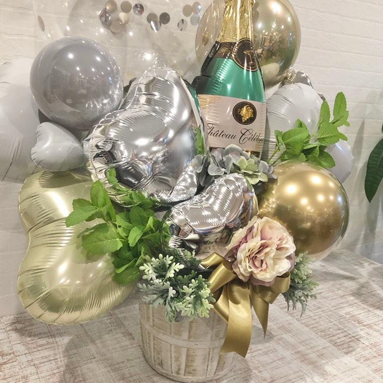 開店祝いや周年祝いにピッタリ☆シャンパンボトルとくすみゴールドで大人な置き型バルーンギフト 拡大2
