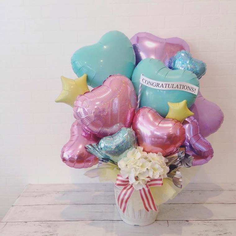 開店祝い・周年祝い・結婚式・お誕生日などに 置き型バルーンギフト パステルミントグリッター