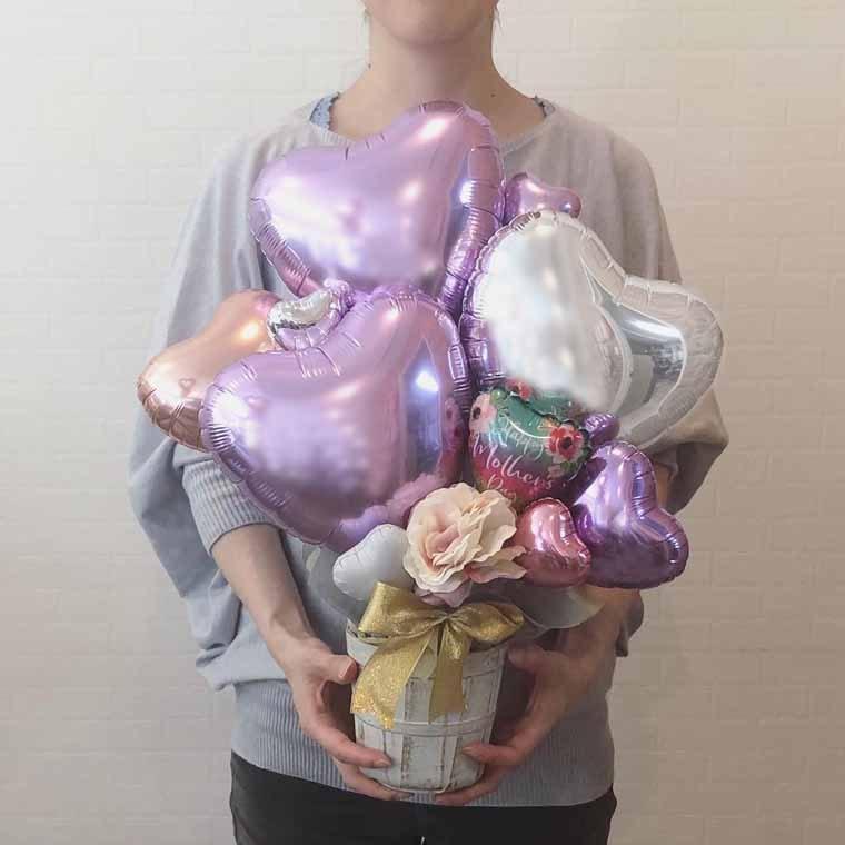 母の日のプレゼントに☆ HappyMothersDayバルーン入り母の日専用置き型バルーンギフト サイズ