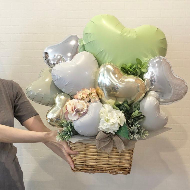 開店祝いや周年祝いなどに☆ グリーンが爽やかなお洒落な置き型バルーンギフト サイズ