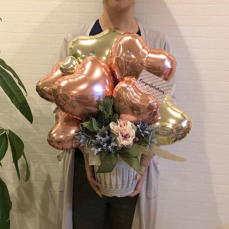開店祝い・周年祝い・送別にも! ローズゴールドで落ち着いた雰囲気のオシャレなバルーンギフト サイズ