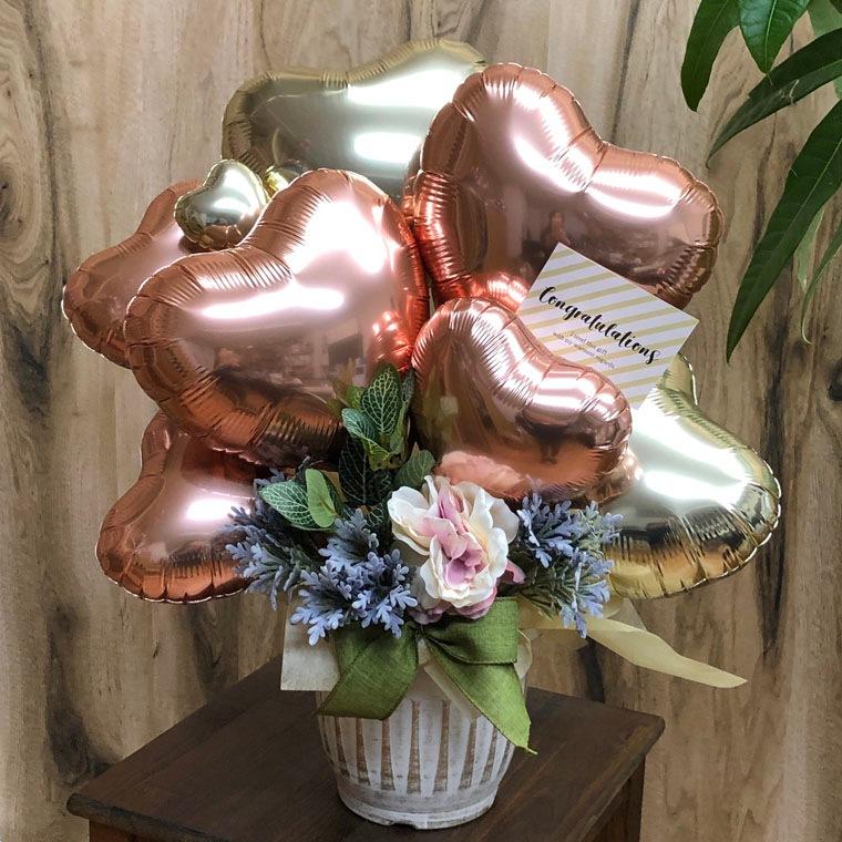 開店祝い・周年祝い・送別にも! ローズゴールドで落ち着いた雰囲気のオシャレなバルーンギフト 拡大1