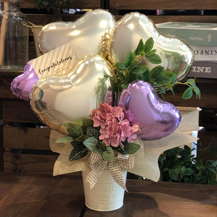 お誕生日のお祝いや開店祝いにも!ピンクのお花と上品なゴールドで大人の女性にもぴったりな置き型バルーンギフト 拡大1