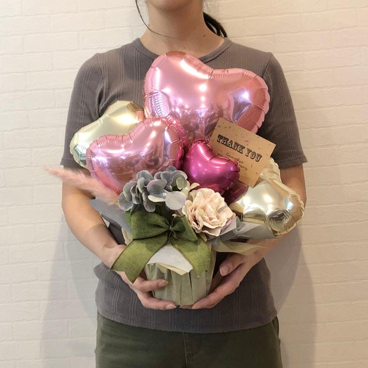 開店周年祝い・お誕生日のプレゼントにも☆ピンクのテールリードが可愛い置き型バルーンギフト サイズ
