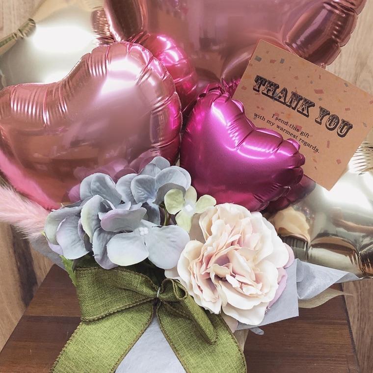 開店周年祝い・お誕生日のプレゼントにも☆ピンクのテールリードが可愛い置き型バルーンギフト 拡大2