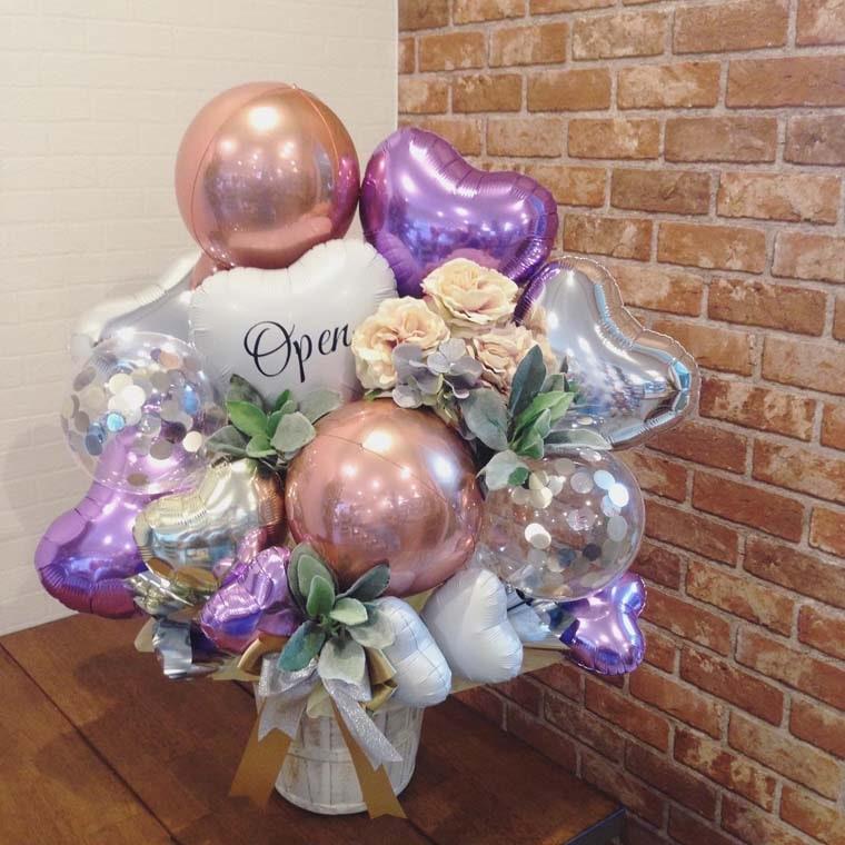 開店祝いや周年のお祝いに☆ローズゴールドで大人可愛い置き型バルーンギフト 拡大2