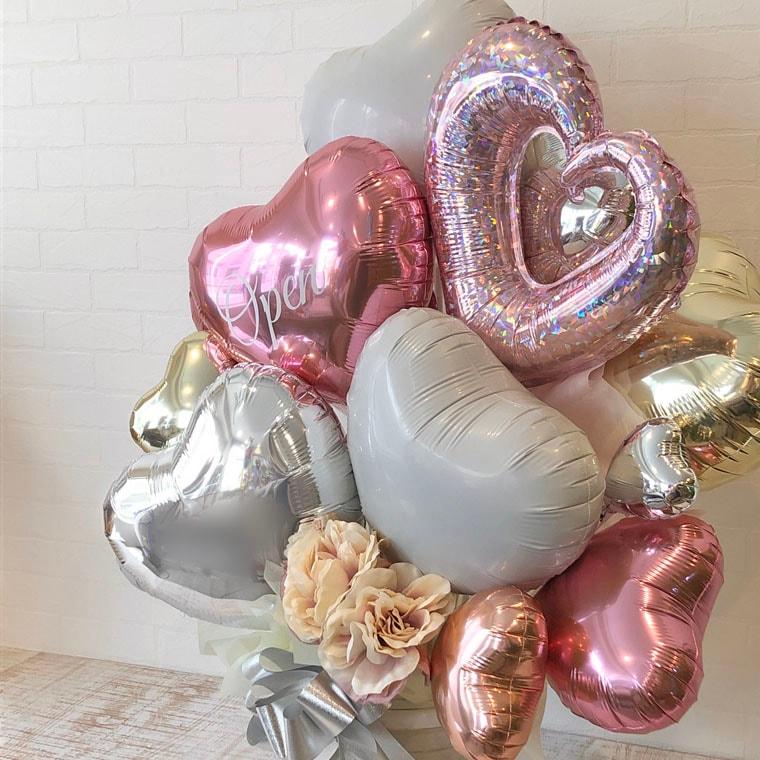 開店祝い・周年祝い・結婚祝いなどに ピンクで可愛らしい雰囲気の置き型バルーンギフト チェーンハートピンク 拡大2