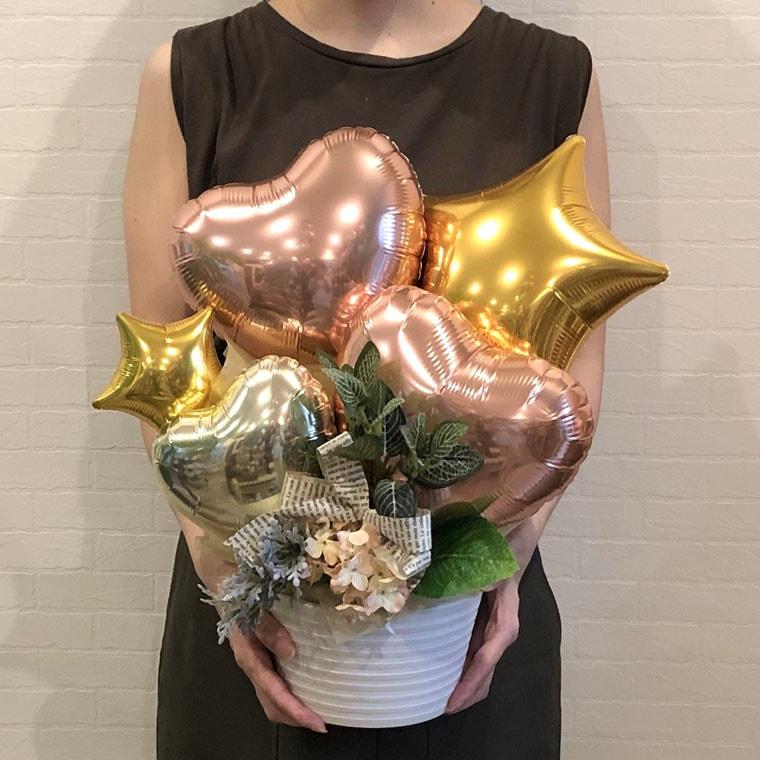 開店・周年祝い・お誕生のプレゼントなどに☆ローズゴールドとゴールドのカラーで大人可愛い置き型バルーンギフト サイズ