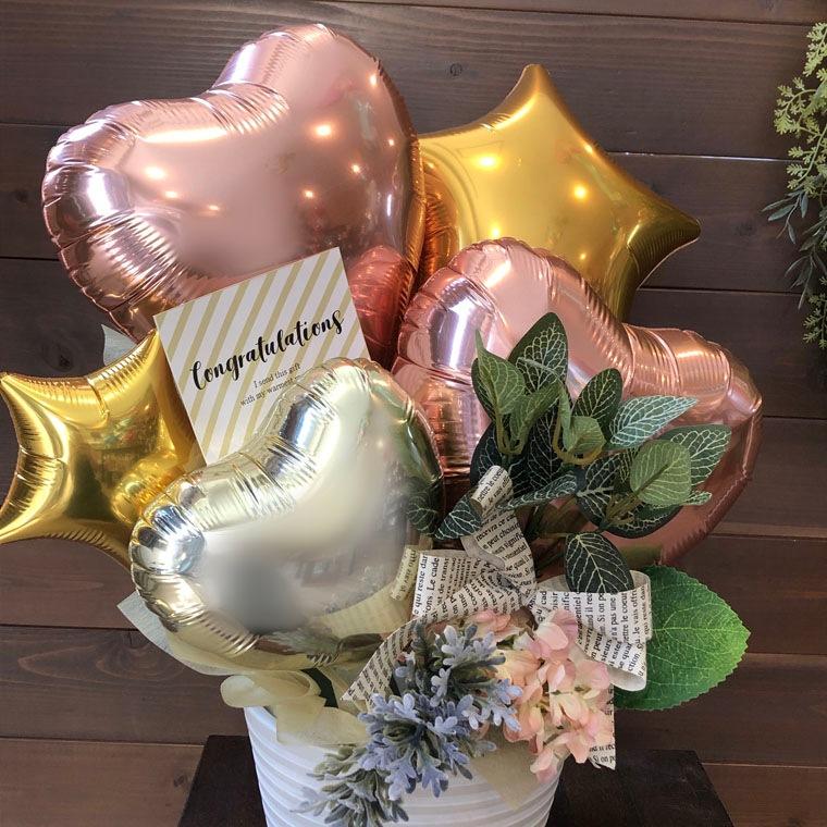 開店・周年祝い・お誕生のプレゼントなどに☆ローズゴールドとゴールドのカラーで大人可愛い置き型バルーンギフト 拡大1