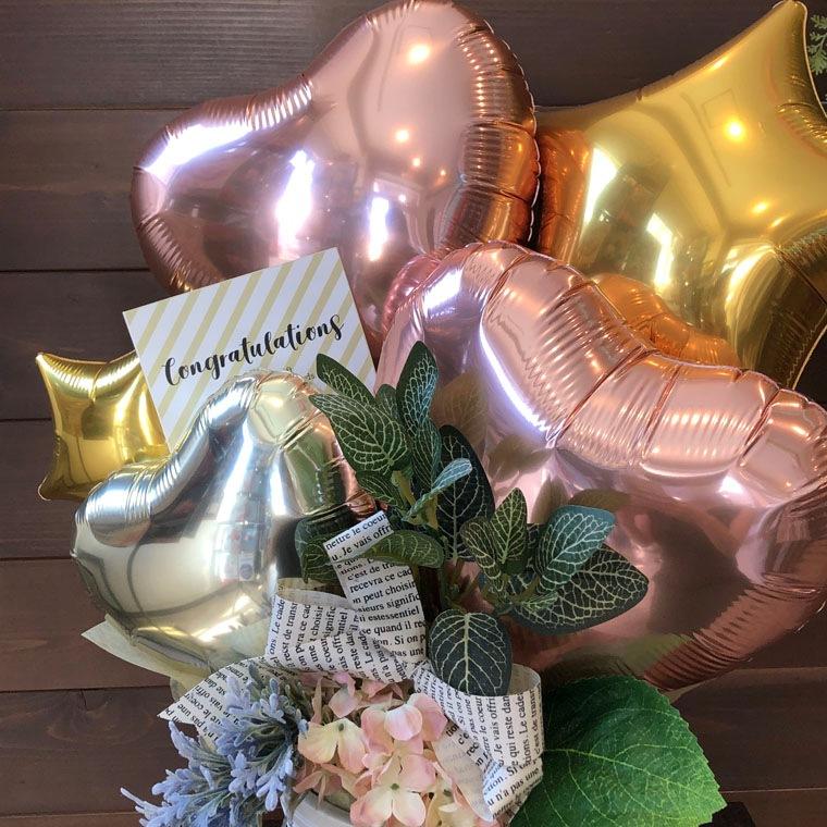 開店・周年祝い・お誕生のプレゼントなどに☆ローズゴールドとゴールドのカラーで大人可愛い置き型バルーンギフト 拡大2