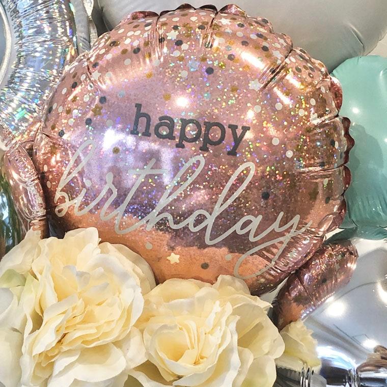 お誕生日プレゼントに!キラキラリングとHappybirtudayバルーンで大人の女性にピッタリなバースデー用置き型バルーンギフト 拡大2