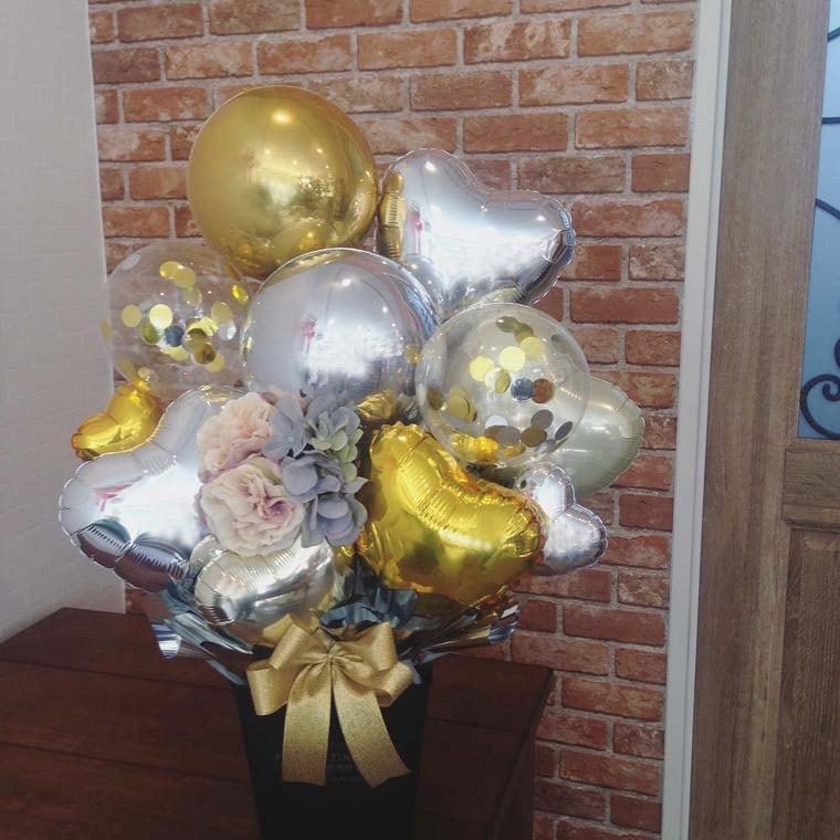 誕生日プレゼント・開店祝い・周年祝いなどに まん丸なバルーンが珍しい置き型バルーンギフト