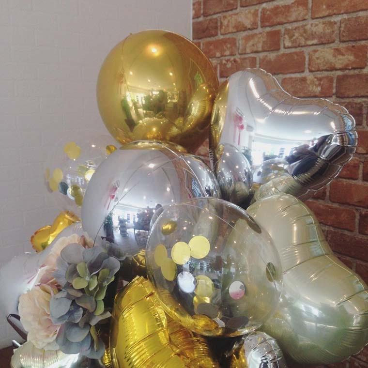 誕生日プレゼント・開店祝い・周年祝いなどに まん丸なバルーンが珍しい置き型バルーンギフト 拡大2