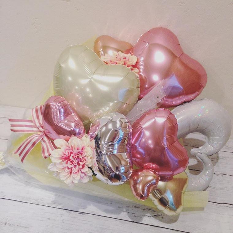 花束型バルーン チュールピンク