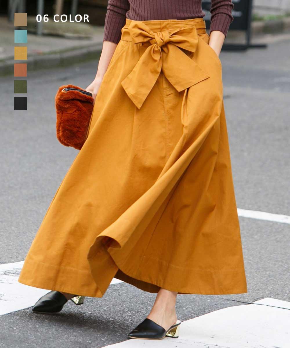 ウエストリボンロングスカート