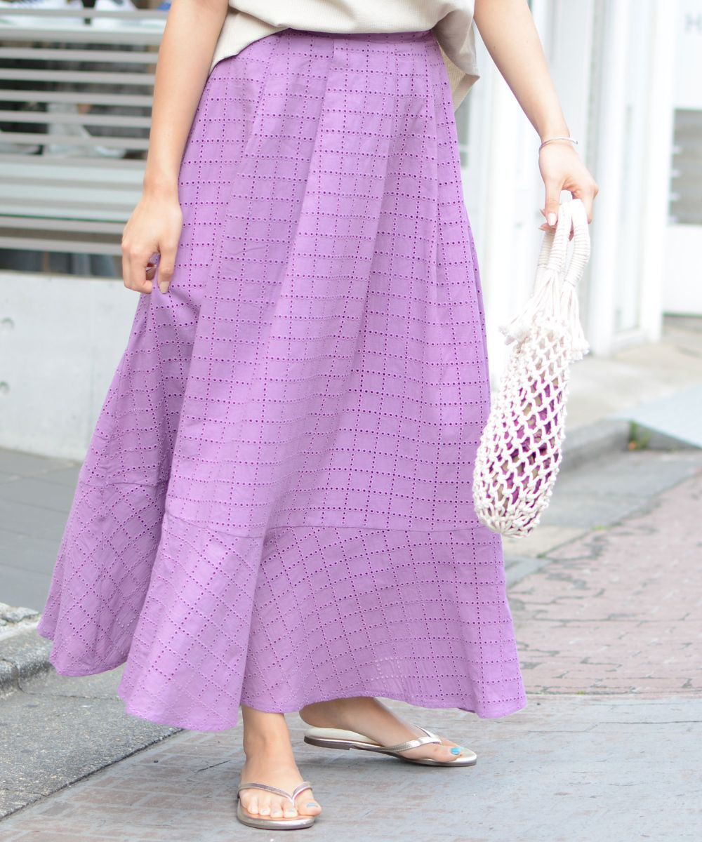 スカラップ刺繍マキシスカート