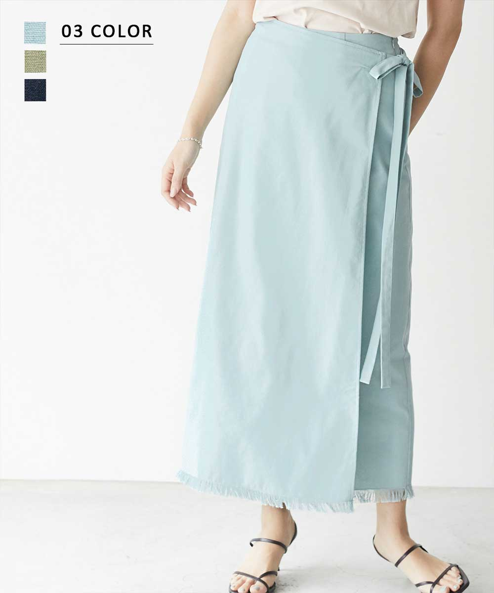ラップ風ペンシルロングスカート