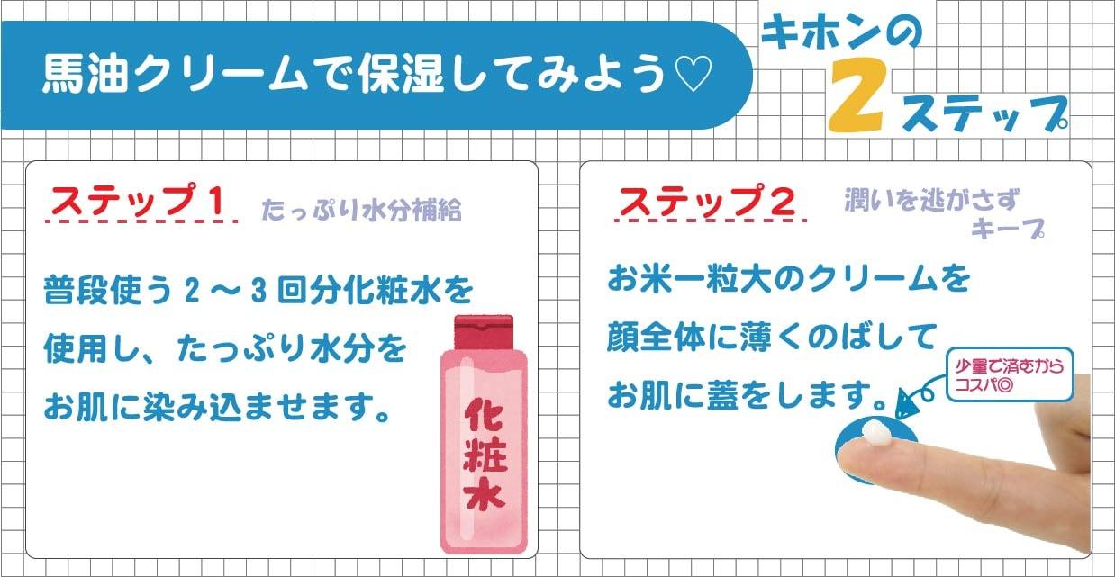 STEP1普段使う2〜3回分の化粧水を使用したっぷり水分をお肌に染み込ませます。STEP2お米一粒大のクリームを顔全体に薄くのばします。