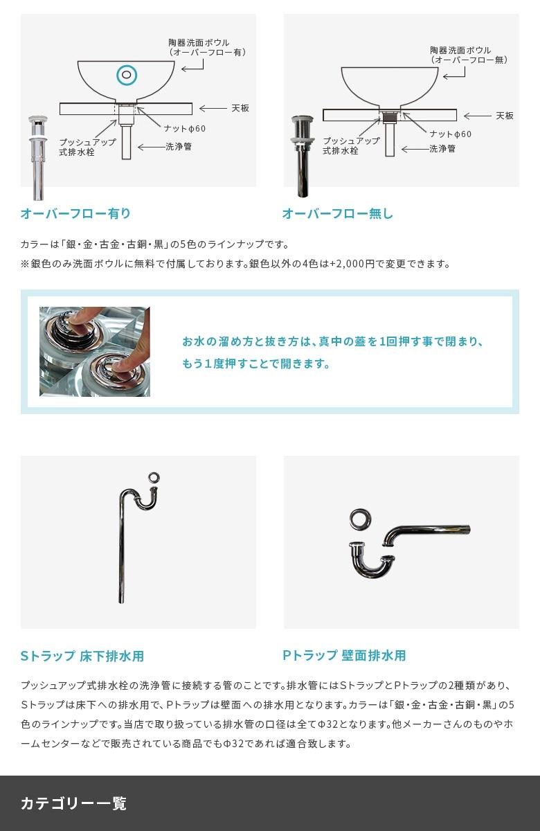 プッシュアップ式排水栓と排水管について