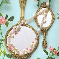 桜草とコットンパールのネックレス