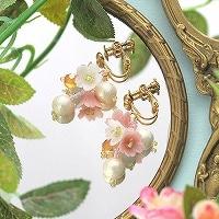 桜草とコットンパールのピアスorイヤリング