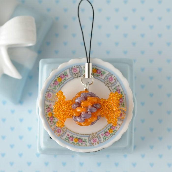 キャンディのストラップ(オレンジ×パープル)